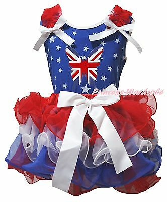 UK Flag Butterfly Queen Day Blue Star Top RWB Petal Skirt Girl Outfit Set NB-8Y