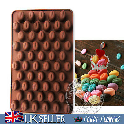 AU 55 Coffee Beans DIY Silicone Chocolate Molds Cake Soap Candy Baking Moulds