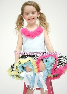 Rainbows Zebra Pettiskirt with White Pettitop Top in Hot Pink Rosettes Set 1-8Y