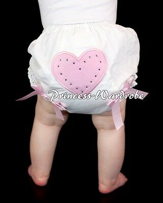 White Pantie Bloomer with Sweet Light Pink Heart Print Various Bows Skirt 6m-3Y
