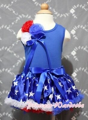 Newborn Baby Blue Patriotic Stars Pettiskirt Tutu Bunch Rose Blue Top Set 3-12M