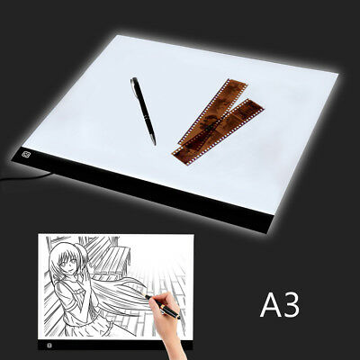 A3 Large Painting LED Touch Dimmer Light Box Pad Art Craft Tracing Tattoo Board