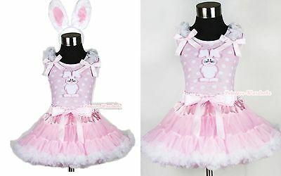 Light Pink White Pettiskirt Easter Bunny Rabbit Pink White Dots Top EAR Set 1-8Y