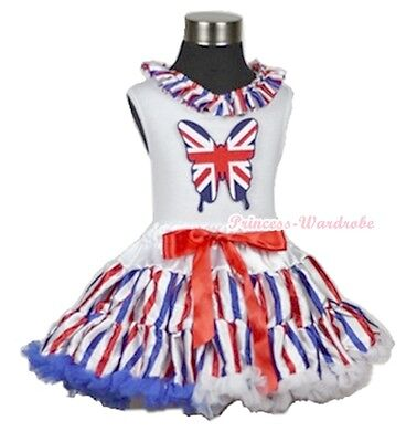 4th July America Flag Stripes Pettiskirt British Butterfly Lacing White Top 1-8Y