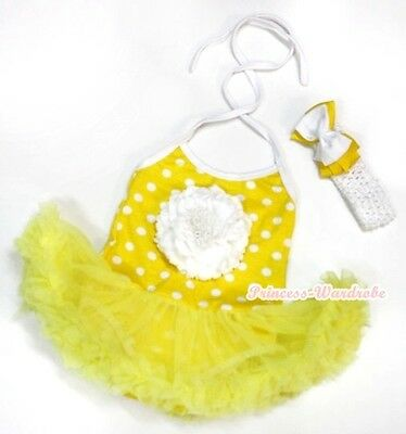 Infant Yellow White Dots Halterneck White Peony Jumpsuit Yellow Baby Dress NB-2Y