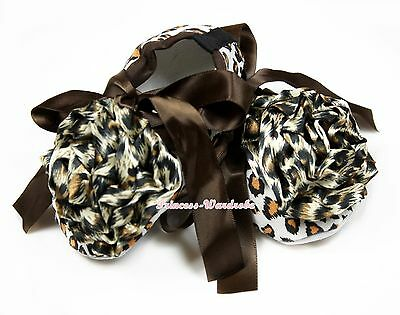 Infant Baby Toddler Baby Girl Brown Leopard Crib Shoes & Leopard Rosettes NB-18M
