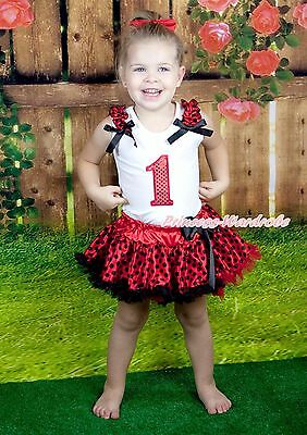 Halloween White Top Red Sparkle Birthday Number Red Black Dot Skirt Set 1-8Y