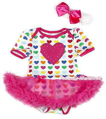 Valentine Baby Girl Hot Pink Heart Rainbow Heart Bodysuit Pink Dress NB-12Month