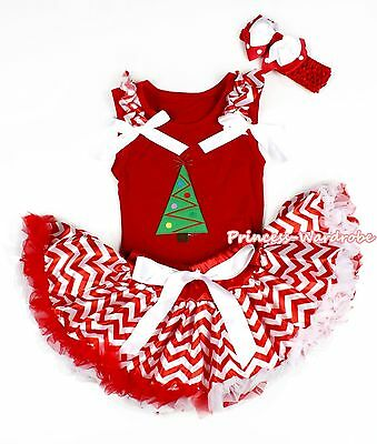 XMAS Christmas Tree Hot Red Tank Top Red White Wave Baby Girl Pettiskirt 3-12M