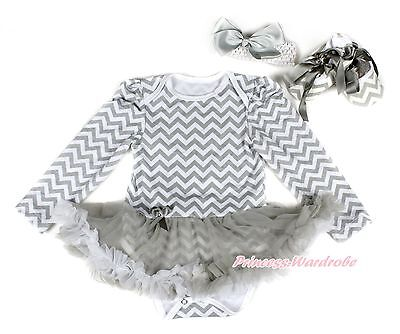 Infant Gray White Wave Long Sleeve Bodysuit Gray Pettiskirt Baby Dress NB-18M
