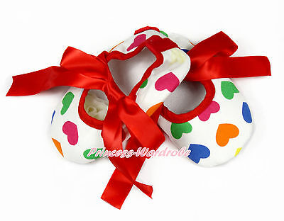 Infant Newborn Baby Hot Red Rainbow Hearts Ribbon Crib Shoes NB-18Month