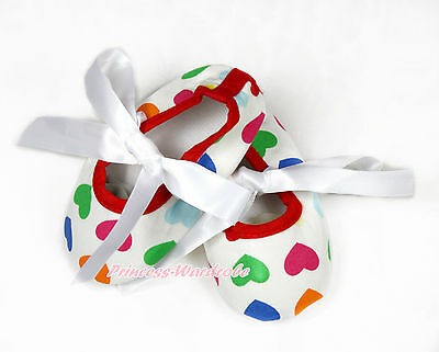 Toddler Infant Newborn White Ribbon Rainbow Hearts Baby Crib Shoes NB-18Month