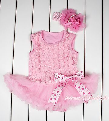 Valentine Light Pink Romantic Rose Pink Skirt Hearts Bow Baby Dress NB-18Month