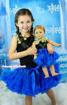 "Rhinestone Princess Anna Baby Black Top Skirt & 18"" American Doll Outfit NB-8Y"