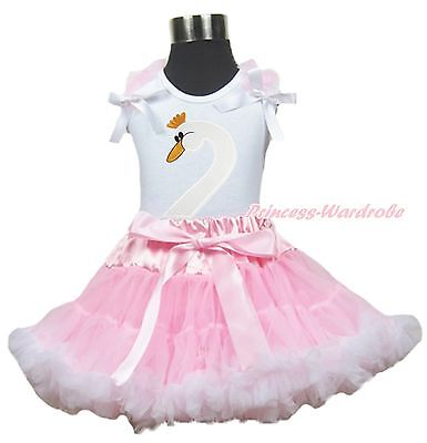 Easter White Swan Print Top Pink White Pettiskirt Baby Girl Outfit Set 1-8Year