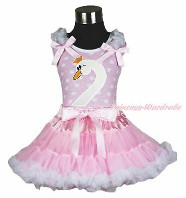 Easter Swan Print Pink White Dot Top Pink White Baby Girl Outfit Costume 1-8Year