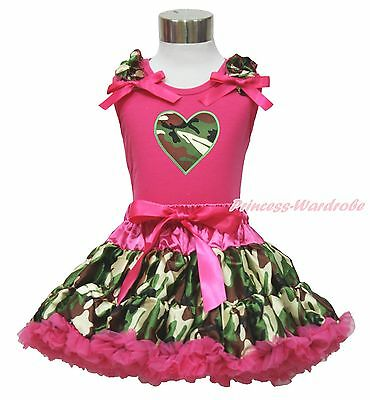 Valentine's Day Camouflage Heart Hot Pink Top Baby Girl Pettiskirt Outfit 1-8Y
