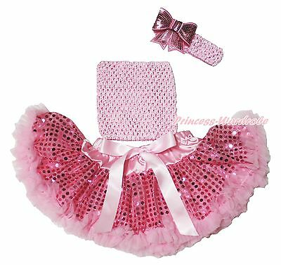 Pink Crochet Tube Top Sparkle Bling Sequins Pettiskirt Baby Girl Outfit NB-3Year