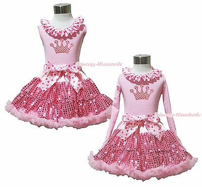 Valentine's Day Bling Crown Pink Top Sparkle Pink Sequin Skirt Girl Outfit 1-8Y