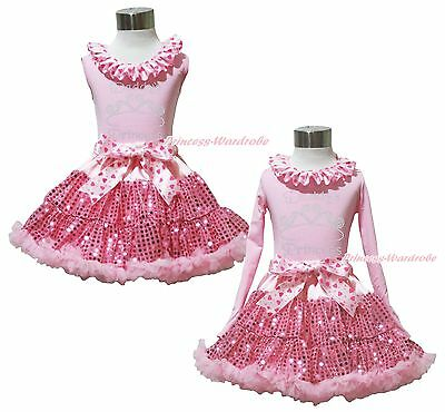 Valentine's Day Rhinestone Daddy's Princess Top Bling Pink Sequin Skirt Set 1-8Y