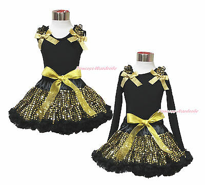 Easter Ruffle Bow Black Top Gold Bling Sequin Baby Girl Pettiskirt Outfit 1-8Y
