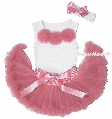 White Shirt Top Dusty Pink Rose Newborn Baby Girl Pettiskirt Outfit Set 3-12M