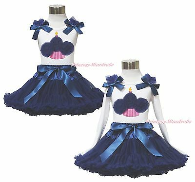 White Top Sailor Navy Blue Birthday Cupcake Pettiskirt Outfit Clothing Set 1-8Y