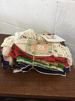 Lot Of 12 Vintage Fabric, Scarves And Napkins Multiple Colors