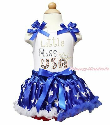 4th July LITTLE MISS USA White Top Patriotic Star Baby Girl Pettiskirt 3-12Month