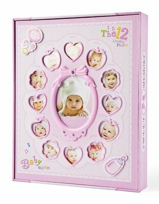 """Baby Photo Album,For Girls Holds 240 4x6 Photos """"My First Year"""" with Box"""