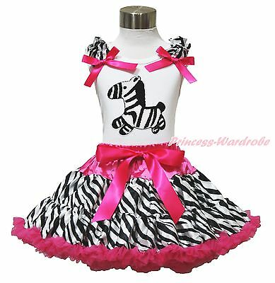 White Shirt Top Animal Hot Pink Zebra Pettiskirt Baby Girl Cloth Outfit Set 1-8Y
