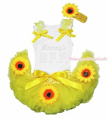 Mother's Day Mommy's BFF White Top Summer Yellow Sunflower Baby Pettiskirt 3-12M