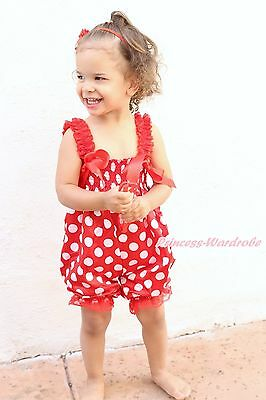 Red Minnie White Dot One Piece Night Gown Dress Romper Baby Girl Jumpsuit NB-36M