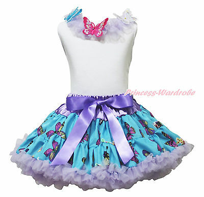 White Top Shirt Butterfly Lacing Pettiskirt Skirt Girls Cloth Outfit Set 1-8Year