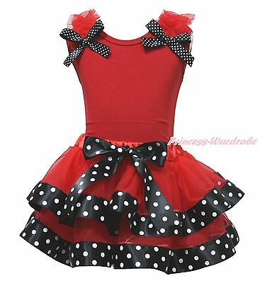 Halloween Red Top Shirt Black Polka Dots Satin Trim Skirt Girl Outfit Set NB-8Y
