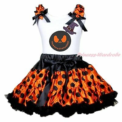 Jack Witch Hat White Top Halloween Orange Black Dots Skirt Girls Outfit Set 1-8Y