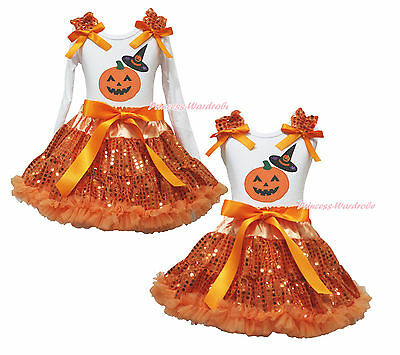 Pumpkin Hat Halloween White Top Orange Bling Sequins Girls Skirt Outfit Set 1-8Y