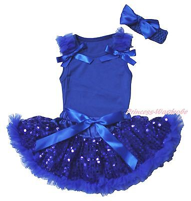 Plain 4th July Royal Blue Top Shirt Bling Sequins Girls Baby Skirt Outfit 3-12M