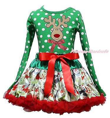 Christmas Reindeer Green White Dots Top Snowman Skirt Girls Clothing Outfit 1-8Y