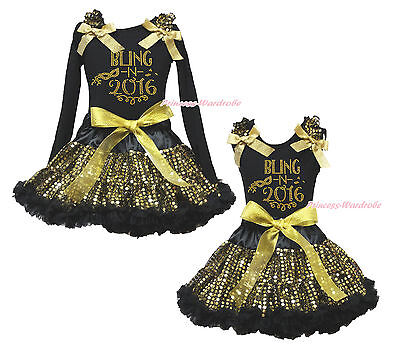 Rhinestone Bling 2016 Black Shirt Top Gold Bling Sequins Girls Skirt Outfit 1-8Y