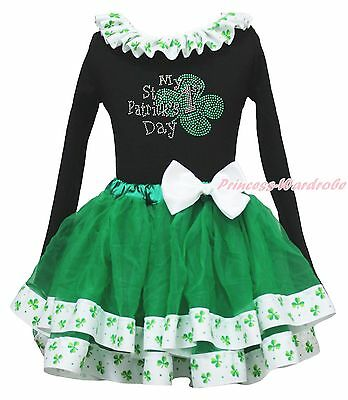 My 1ST St Patrick Day Clover Black Top Green Girls Satin Trim Skirt Outfit NB-8Y