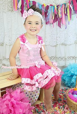 Pink Top My 1ST Easter Egg Bunny Rabbit Satin Trim Skirt Girls Outfit Set NB-8Y