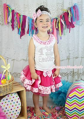 White Top My 1ST Easter Egg Bunny Rabbit Hot Pink Satin Trim Skirt Girls NB-8Y