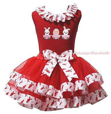 Easter Bunny Egg Red Cotton Top Rabbit Satin Trim Skirt Girls Outfit Set NB-8Y