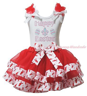 Rhinestone Happy Easter White Top Red Bunny Rabbit Satin Trim Girls Skirt NB-8Y