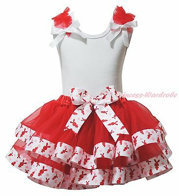 Plain Easter White Top Red Bunny Rabbit Satin Trim Skirt Girls Outfit Set NB-8Y