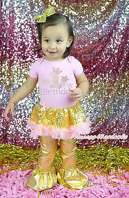 MY 1ST Birthday Pink Bodysuit Gold Bling Sequins Girl Baby Dress Trousers NB-18M
