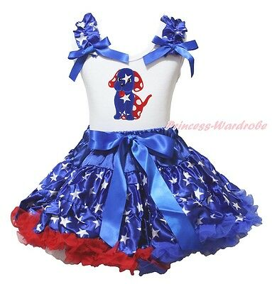 4th July Dog Puppy White Top Patriotic Star Pettiskirt Girl Cloth Outfit 1-8Year