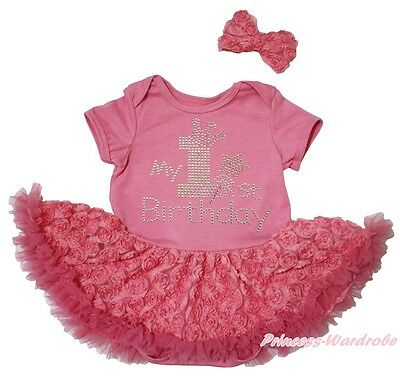 My 1ST Birthday Dusty Pink Bodysuit Girl Romantic Rose Baby Dress Outfit NB-18M