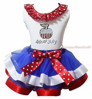 Bling Apple 4th July White Cotton Top BWR Satin Trim Skirt Girl Ourfit Set NB-8Y